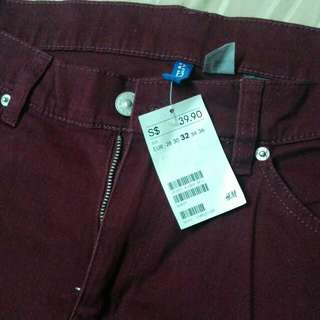 Brand New With Tag. H&M Maroon Jeans.