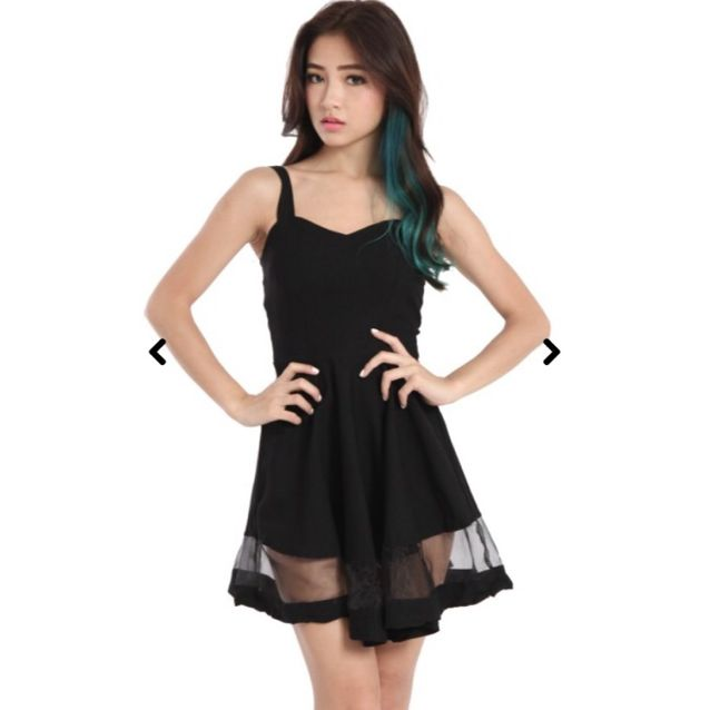 496312037412 Carislabelle Black Mesh Skater Dress
