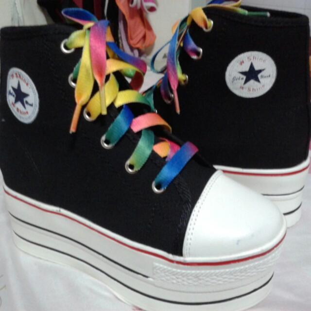 cec6625e230 Converse Inspired Platform Shoes Black w Rainbow Shoelace