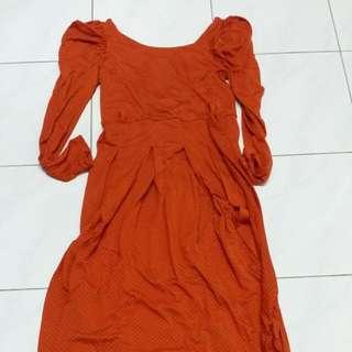 Orange Long Dress (Free Postage)