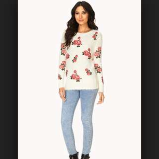 Retro Rose Shag Sweater