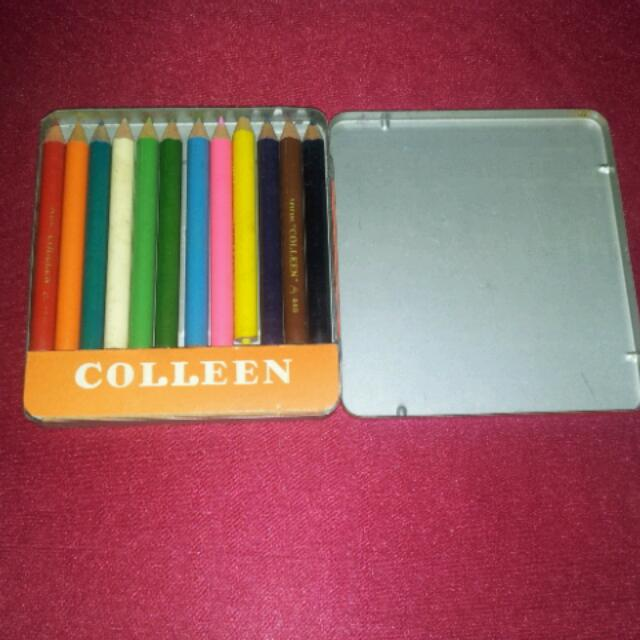 Vintage Colleen 12 Colors Pencil Tin Box, Stationery