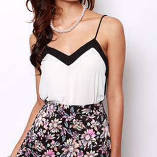 Trimmed Contrasting Top In White (MDS)