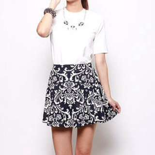 MDS Spice Of The Orient Skirt In Navy Blue/White