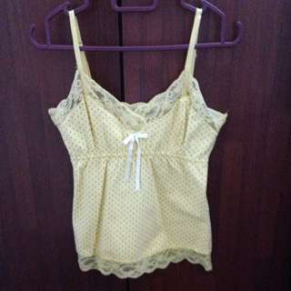 Yellow Polka Dot Lacey Spag Top