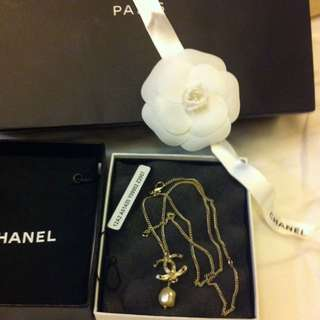 Authentic Chanel Gold Necklace With CC Pendant And Drop Pearl, Rare Item