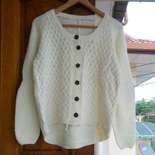 Zara Inspired Cream White Elbow Patches Knitted Cardi / Sweater / Pullover