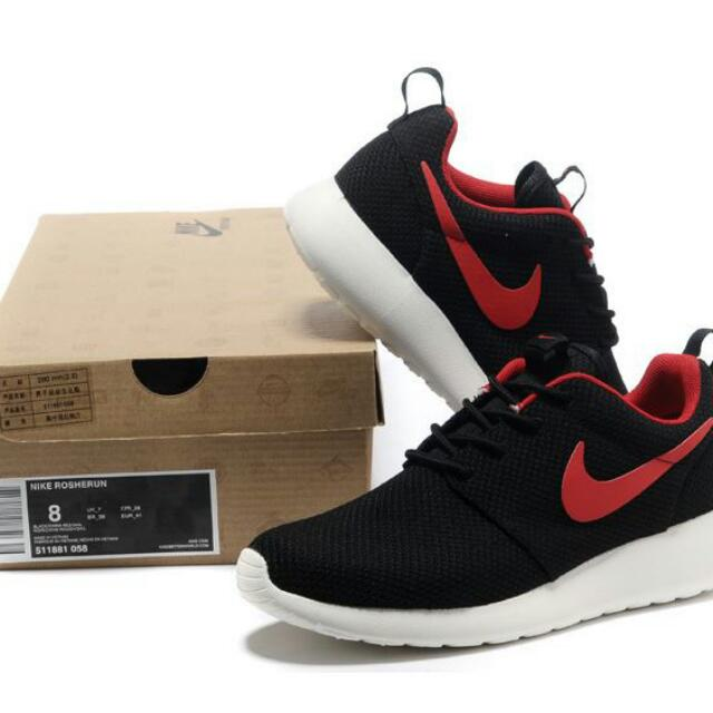 e29b8e1c9ed1 Replica Nike Roshe Run Running Shoes Black Red