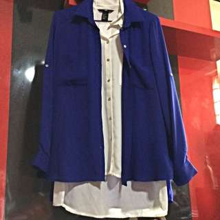 BNWT H&M White Or Blue L/S Shirt.. (2 For $25)