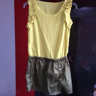 Yellow Green Blouse Skirt (fits S - M)
