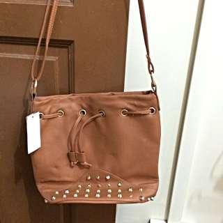 (Sale) Brown/Black Cotton Bucket Bag (no Trade)