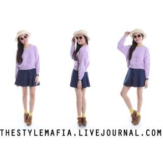 Purple/ Lilac Knitted Crop Pullover