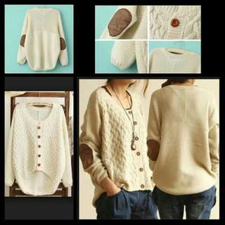 Zara Inspired Cream White / Black Knit Cardi w Elbow Patch