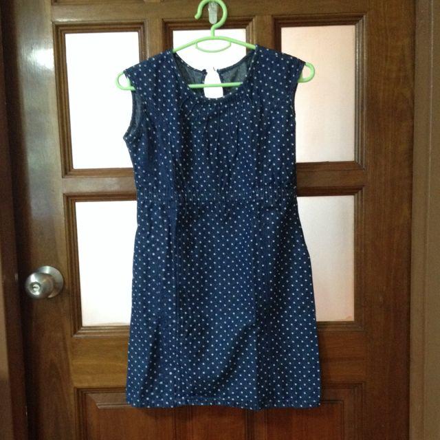 Blue Denim Polkadot Dress
