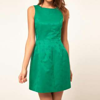 ASOS tulip dress in butterfly textured fabric in green