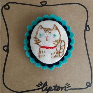 Handcrafted Embroidered Cat Brooch