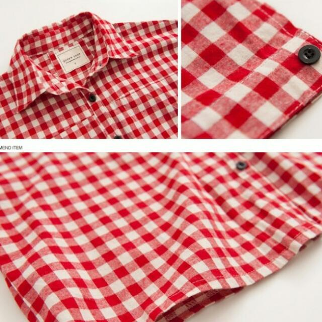 Oversized Red Checkered Shirt For Females