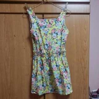 (SOLD) Yellow Flower Print Dress