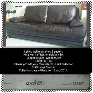 PREOWNED KING KOIL 3 SEATERS SOFA (Reserved)