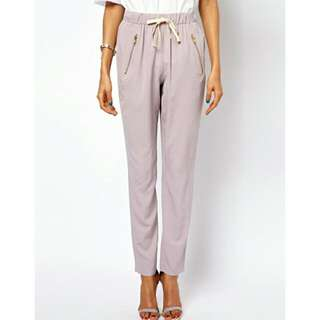BN Peg Trousers With Zip Detail And Tie Waist UK14