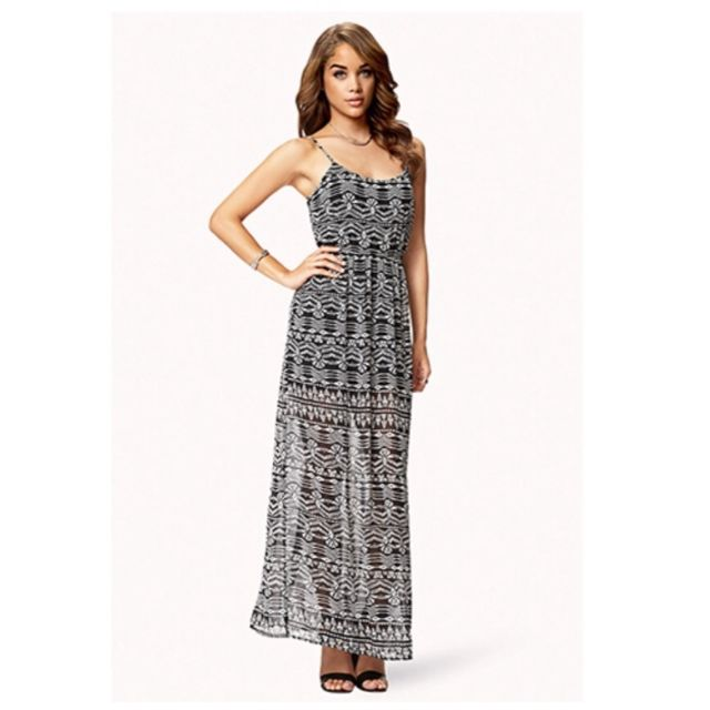 9f1fd4a0e48 Forever 21 Black Tribal Print Chiffon Maxi Dress