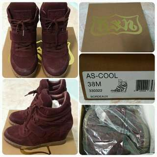 Ash Cool Suede Wedge Sneakers in Wine