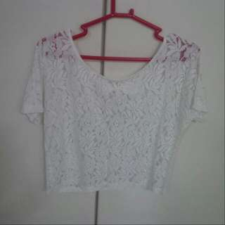 Romp White Laced Crop Top