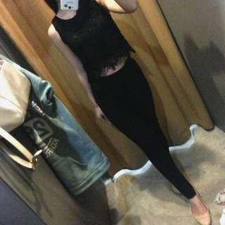 WtBuy - Black Lace Crop Top
