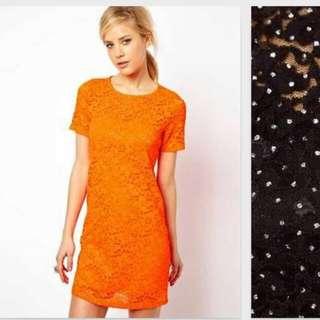 BNIB ASOS Sparkle Lace Shift Dress ORANGE