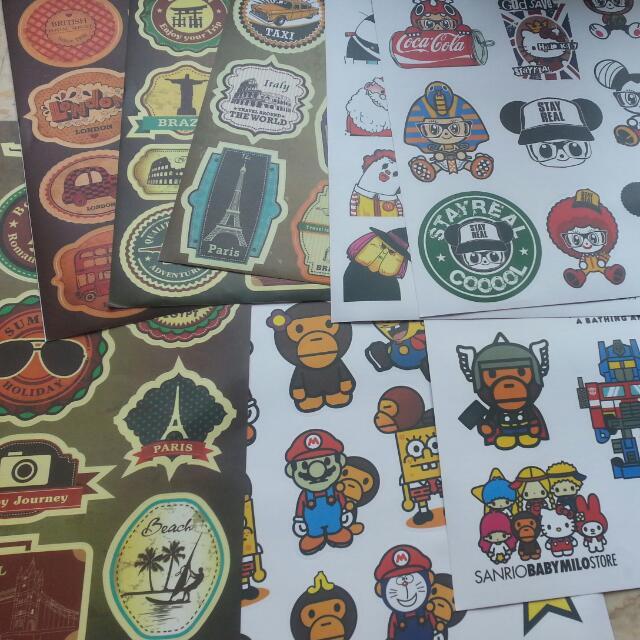 $1 50 PER SHEET Waterproof High Quality Stickers! Babymilo | Mario |  Spongebob | Stayreal | For Laptop, Bike, Helmet, Etc