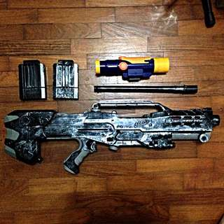 Nerf Longshot CS-6 ( Discontinued ) Modified W Attachments & Acces.