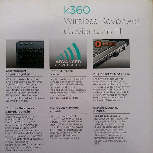 Logitech Wireless Keyboard k360 unifying