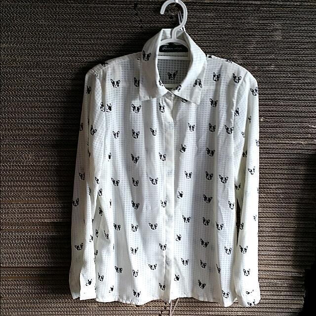 Long Sleeve Dog Motif Shirt