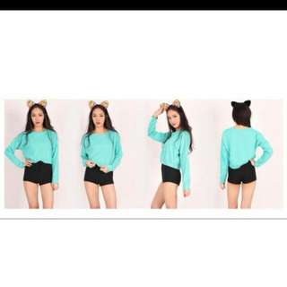 Mint Cropped Pullover