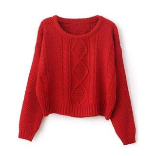 Red Cable Knit Short Jumper