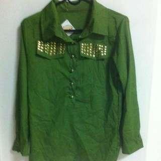 BN Green Long Sleeve Blouse