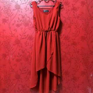 (RESERVED) Red High Low Dress