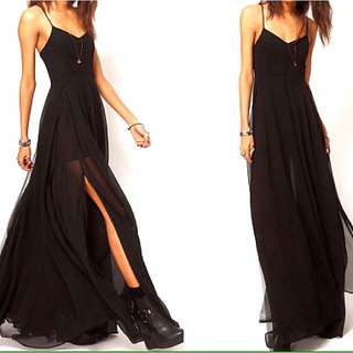 (PENDING!) Black Maxi Dress With slits