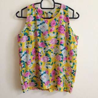 Yellow Floral Cut-in Blouse