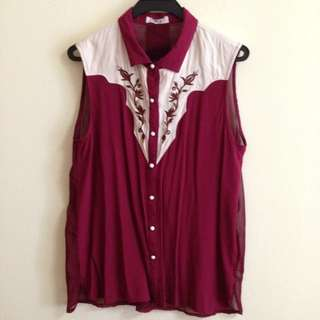 Oxblood Embroidery Blouse