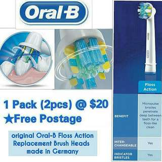 Oral-B FlossAction replacement electric toothbrush head (AUTHENTIC)