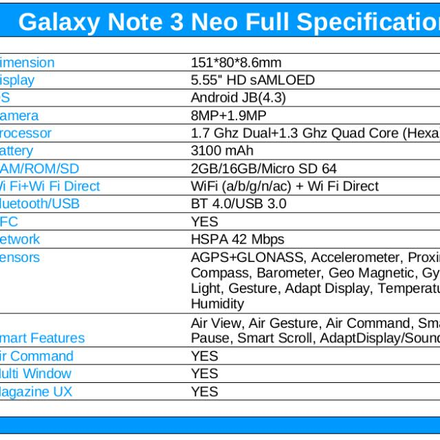 Samsung Note 3 Neo export and local