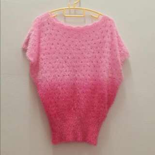 (New!) Pink Ombre Furry Top