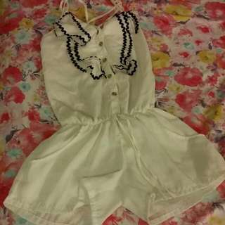 White Ruffled Romper