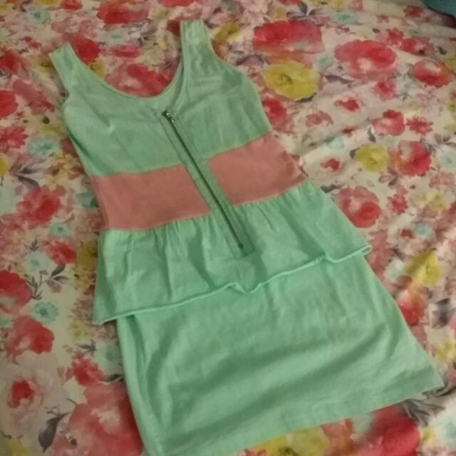 Mint Green/Pink Peplum Dress