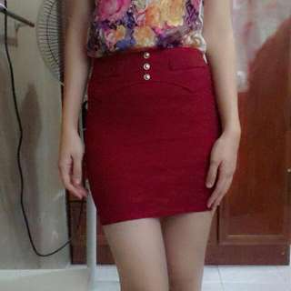 Maroon Lace Skirt