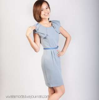BN Structured Sleeved Dress in Pastel Blue
