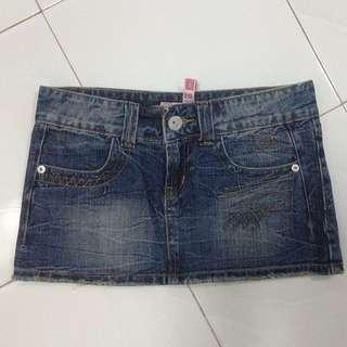 😜2 W Denim Mini Skirt