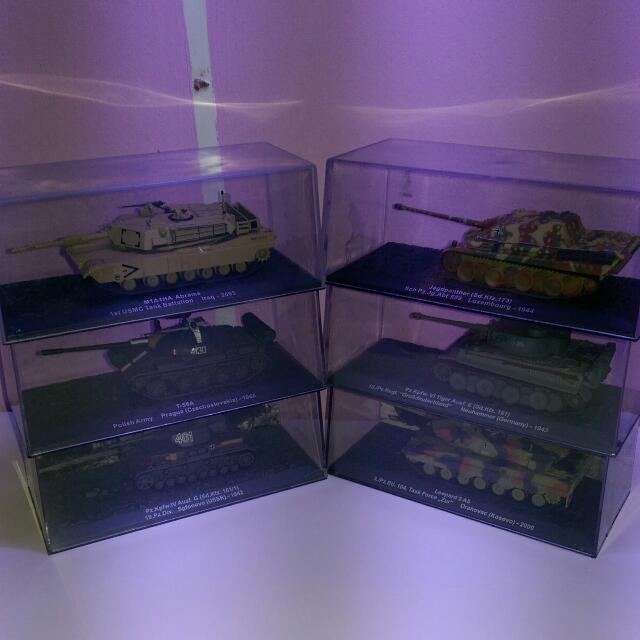 Miniature Model Tanks In Plastic Display Cases