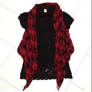 😜(SALE)Long Top+Checkered Vest